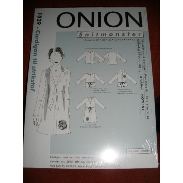 1029  Cardigan til strikstof   onion